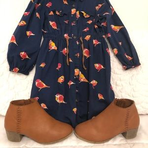 Old Navy Girls Collared Navy Shirt Dress w/Birds